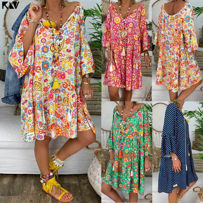 KLV Women Boho Summer Floral Long Sleeve V-Neck Mini Holiday Beach Dress