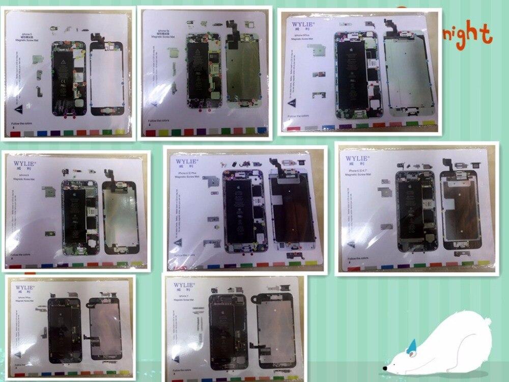 imágenes para 8 unids profesional tornillo magnético trabajo mat pad para iphone 5, 5S, 6, 6 s, 6 más 6 splus, 7,7 más de Reparación del teléfono celular
