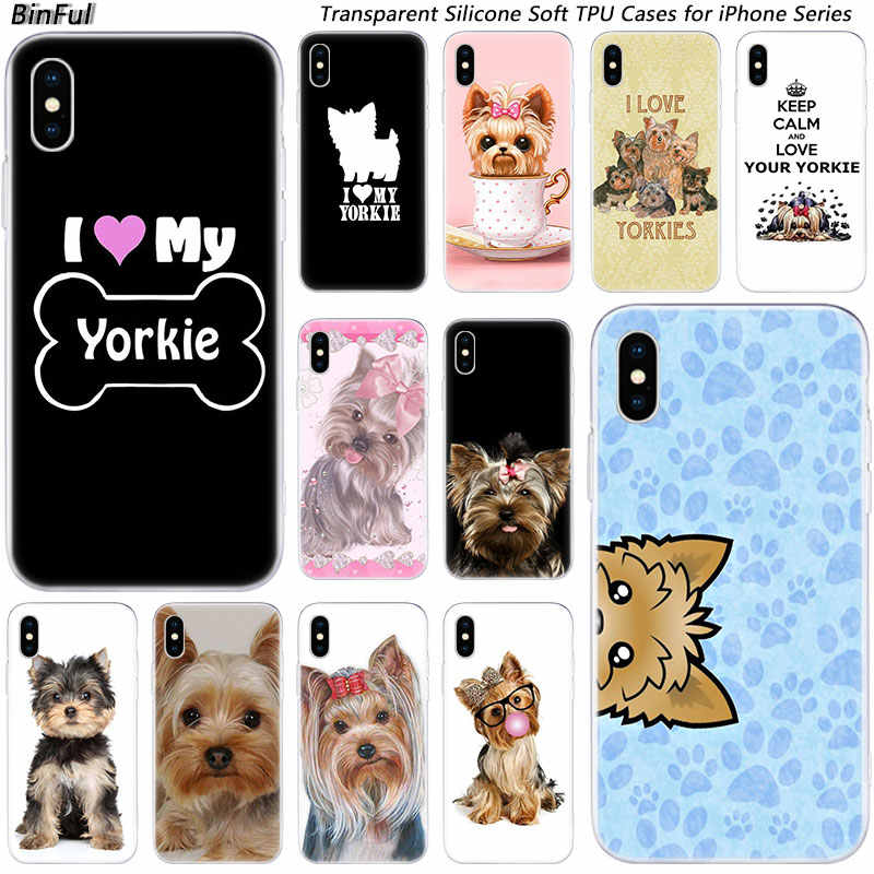 Hot Yorkshire Terrier Dog Puppy Soft ซิลิโคนแฟชั่นกรณีสำหรับ Apple iPhone 11 Pro XS MAX XR X 7 8 PLUS 6 6 S PLUS 5 5C 5S SE TPU