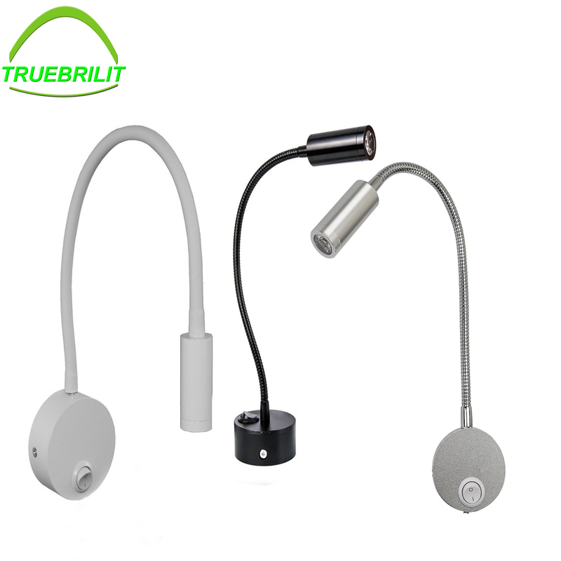 Flexible Hose LED Wall Lamp sconce 3W Bedside Reading Light Study Painting Wall Lighting Bedroom wall light silver black led modern wall lamp with plug 3w 270lm flexible arm bedside reading light study painting wall lighting