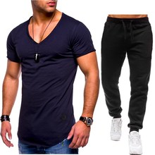 Oversize 3xl Summer Men Sets T Shirts+pants Two Pieces Cotton Casual Tracksuit New Male Tshirt Gyms Fitness Trousers