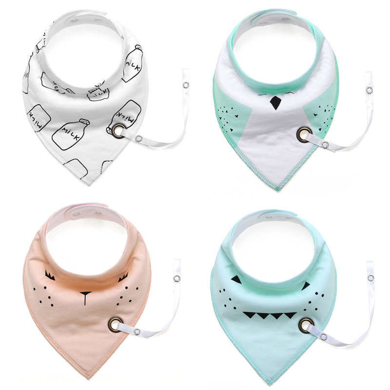 High Quality (4 pcs/lot) Safety Washable Cotton Baby Bibs Cartoon Print Triangle Adjustable Baby Bibs With Pacifier Hangers