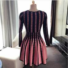 Brieuces 2018 winter women dress slim elastic long-sleeve knitted one-piece short female pleated casual autumn