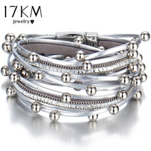 17KM Design Fashion Bead Multiple Layers Charm Bracelet For Women Men Leather Bracelets & Bangle New Femme Party Jewelry Gift(China)