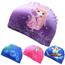Лидер продаж; летние детские кепки для плавания с милыми мультяшными рисунками из эластичной ткани; Детские милые шапки с изображением животных для защиты ушей; шапки для бассейна для мальчиков и девочек