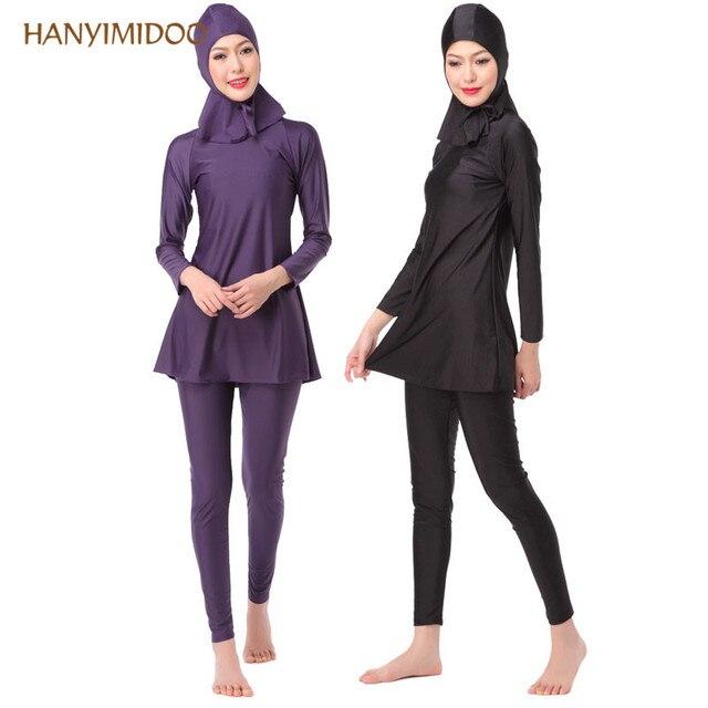 3f0dc34db7 HANYIMIDOO Sunscreen Hijab Swimming Bathing swimsuits Beach suit Muslim Women  Swimwear Islam Modest Arab Style H
