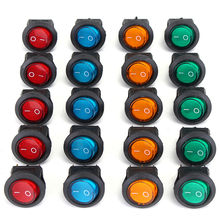 20 Uds Durable cuatro colores 12V 3 pines LED conmutador Rocker SPST interruptor de punto de luz del barco del coche Auto ronda/OFF(China)