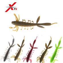 Купить с кэшбэком XTS Fishing Lures 75mm 100mm Wobblers 6 Pieces/Bag High Quality Artificial Worm Bait 5 Colors Soft PVC Material Fishing Bait3810