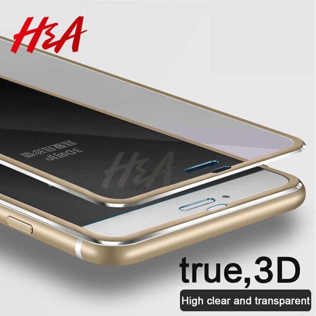 H & A de Vidro Temperado Para o iphone 8 6 6 S 7 Mais Completo Protetor de tela 3D Liga De Alumínio Para o iphone 6 7 8 caixa de Proteção vidro
