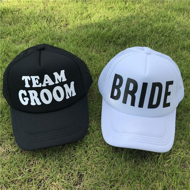 b24ccb95954c6 BRIDE Wedding Baseball Cap TEAM GROOM Mesh Hat Women Party Brand Club Team  Hats Women Summer