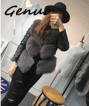 Genuo Women Jackets Vest Fashion Autumn Winter Coat Warm Female Faux Fox Fur High-Grade Slim Jacket Outerwear Black Gray