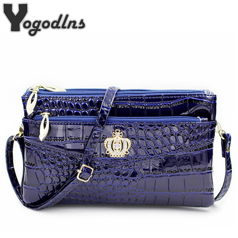 Fashion women crossbody shoulder bags crown messenger handbag crossbody double zipper bag(China)