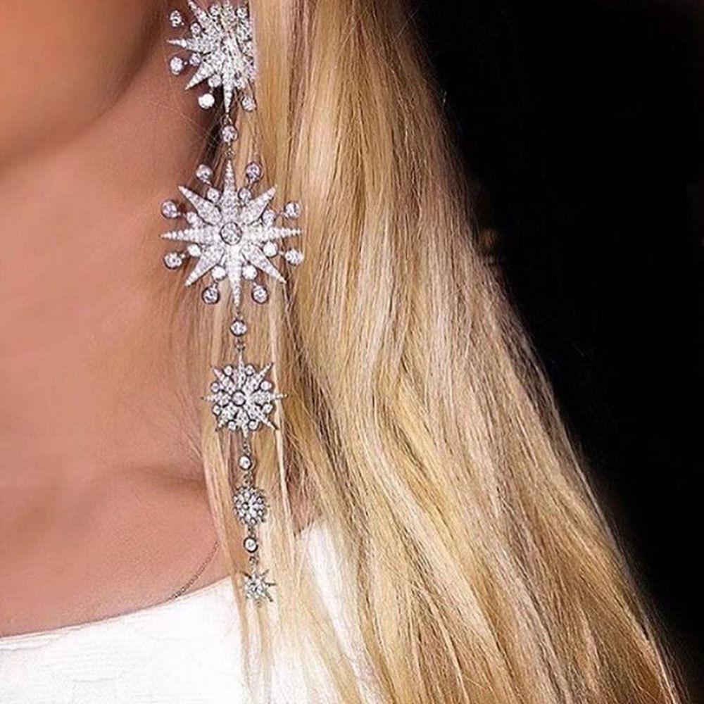 GODKI Long Trendy Star Cubic Zirconia Women Bridal Fashion Pierceing Silver Tassel Earrings long tassel earrings