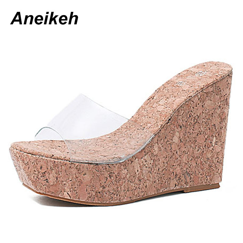 Aneikeh Sexy Summer Women Clear Transparent Platform Wedges Sandals Ultra High Heels Wooded Mule Silde Shoes Outdoor Creepers