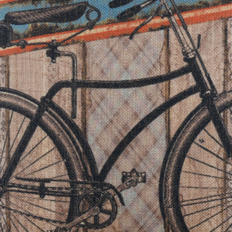 LINKWELL 45x45cm Vintage Life is a Beautiful Ride Bicycle Bike Old Wood Slat Look Accent Home Pillowcase Burlap Cushion Cover