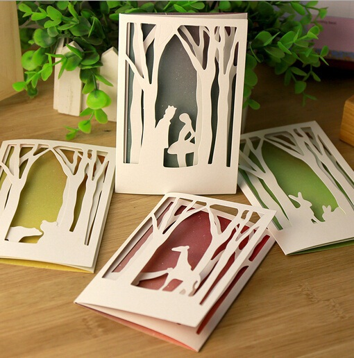 20pcs/lot DIY Cards New Vintage Hollow style Fairy Tale series Kraft paper 3 FOLD Greeting card/bookmark/gift card/wholesale