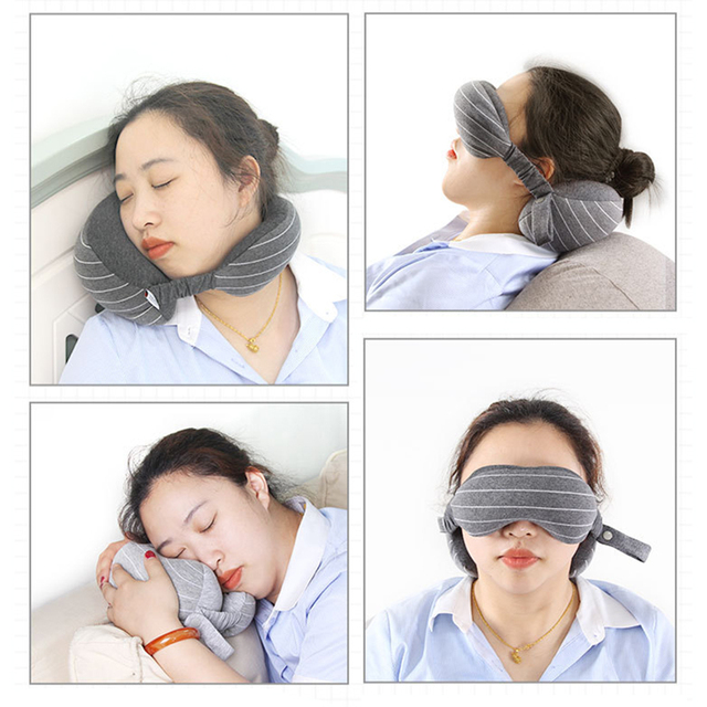 Useful Portable Travel Compact Pillow Eye Mask 2 in 1-Soft Goggles Neck Support Pillow for Airplane Office Napping Trip Supplies 2