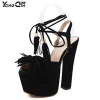 2018 Tassel High Heels 16 5CM Women Sandals Sexy Dress Shoes Woman High Heels Shoes