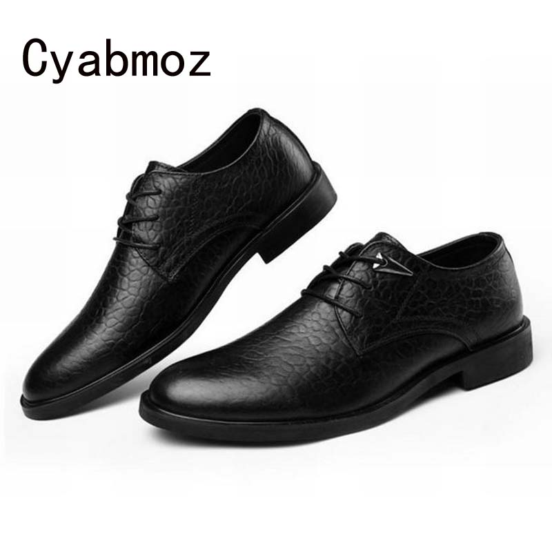 New Fashion Men Business Dress Casual Shoes Genuine Leather Luxury Crocodile Pattern Man Shoe Flats For Wedding Office Plus Size grimentin fashion 2016 high top braid men casual shoes genuine leather designer luxury brand men shoe flats for leisure business