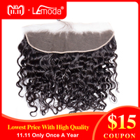 LeModa Malaysian Water Wave Lace Frontal Closure Knots Bleached Pre Plucked With Baby Hair 100% Human Remy Hair Free Part