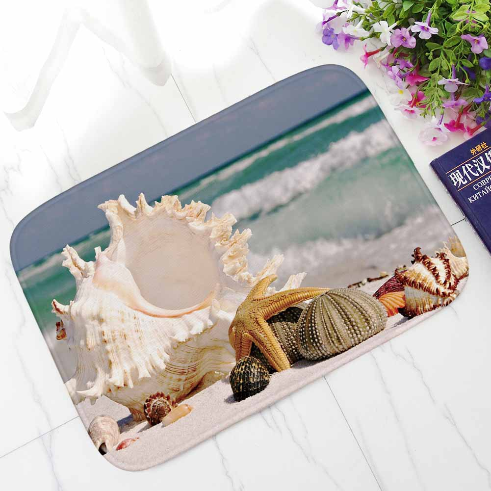Sea Shell Printed Entrance Hallway Carpets Non-slip Welcome Door Mats Out Door Home Decor Kitchen Rugs Bathroom Bath Mats