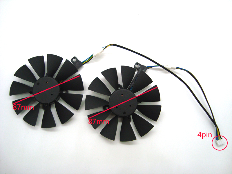 Free Shipping 87MM T129215SU Cooling Fan For ASUS Strix GTX 980 Ti GTX 1050 1060 1080 1070 RX 480 470 Graphics Card Cooler Fans image