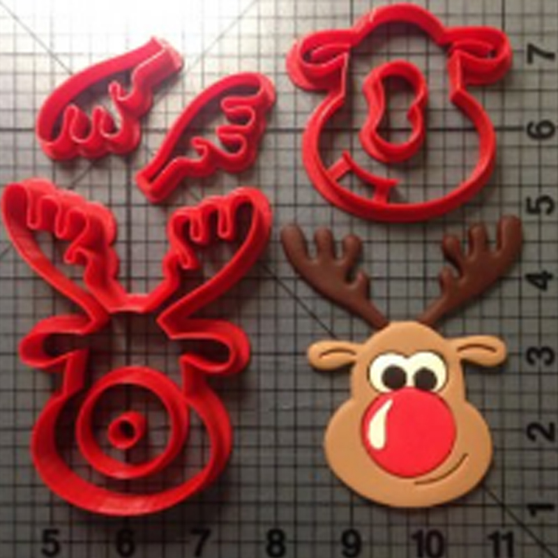 Chirstmas Reindeer Cookie Cutter Cartoon TV Karakter Rudolph Fondant Cutter Set Cake Decorating Tool Cookie Moulds