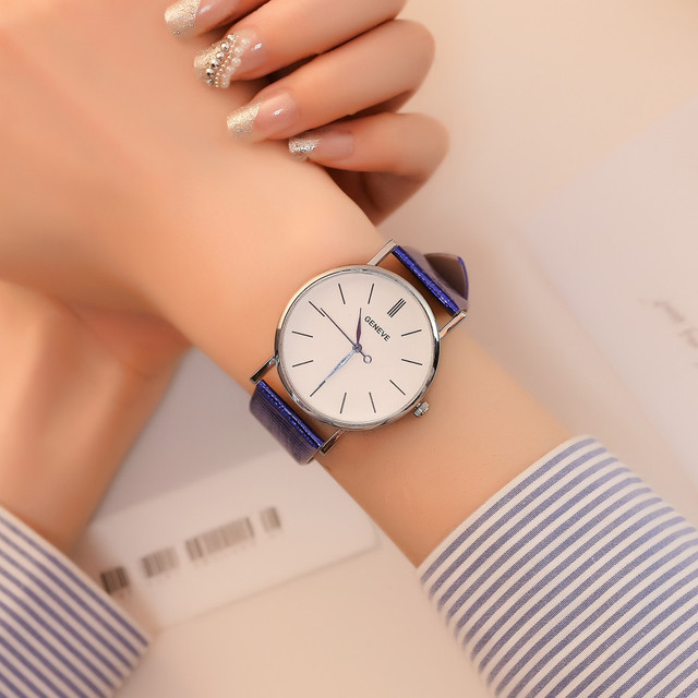 2018 Fashion glass mirrored leather strap watch Women Quartz Watch Stainless Ste