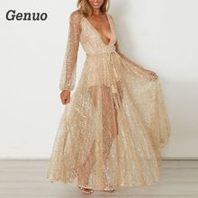 61d5fade0a8 Genuo Sexy Sequined V-neck Summer Party Dresses Bandage Mesh Long Sleeves  Maxi Dress