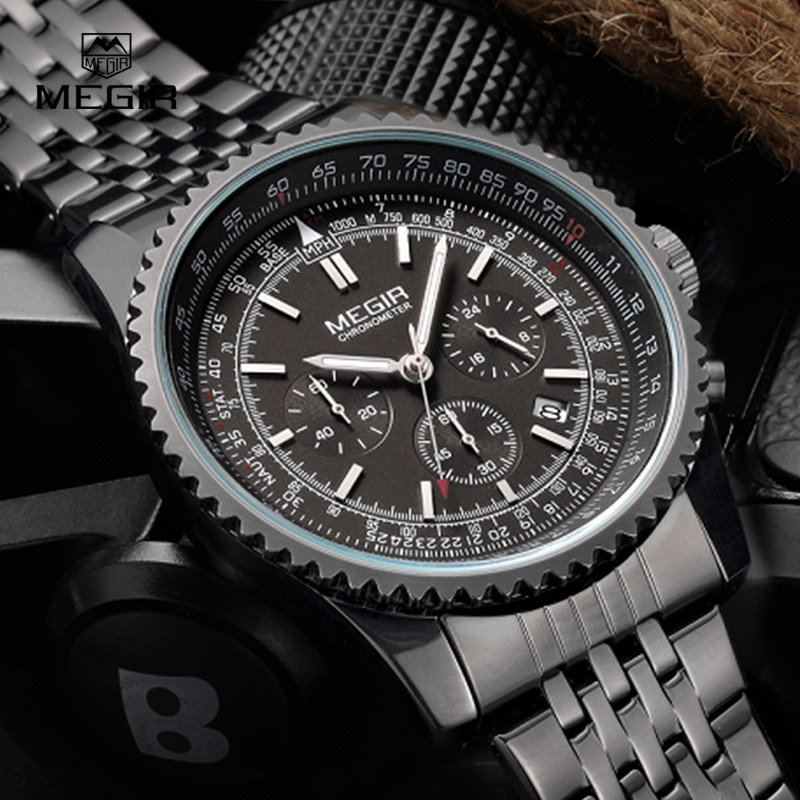 MEGIR new fashion quartz watch man business wristwatch for male luminous analog watches men chronograph calendar hour clock hot analog watch