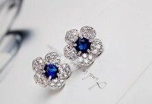 New arrives Fashion blue crystal Imitation diamonds flower earring  Jewelry  4ED177