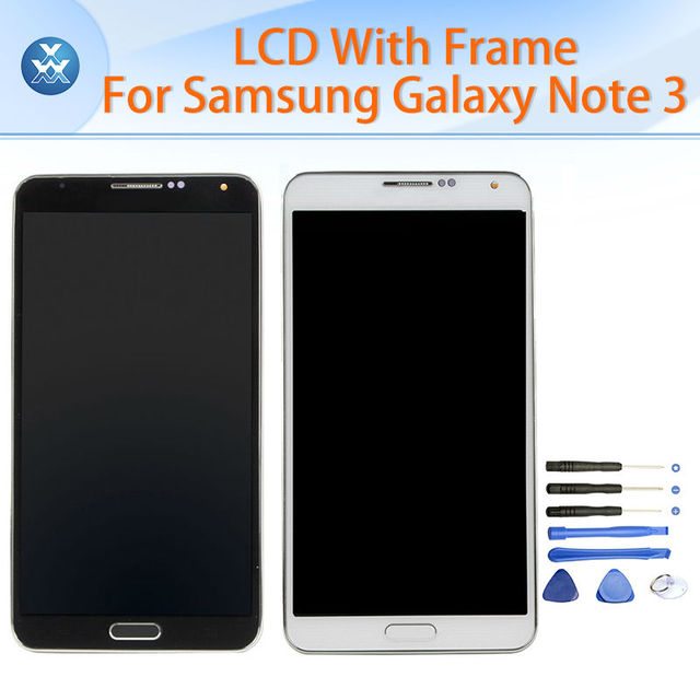 "Tela de lcd para samsung galaxy note 3 n900 n900a n900v n9005 N9002 display LCD de toque digitador quadro assembléia preto branco 5.7"""