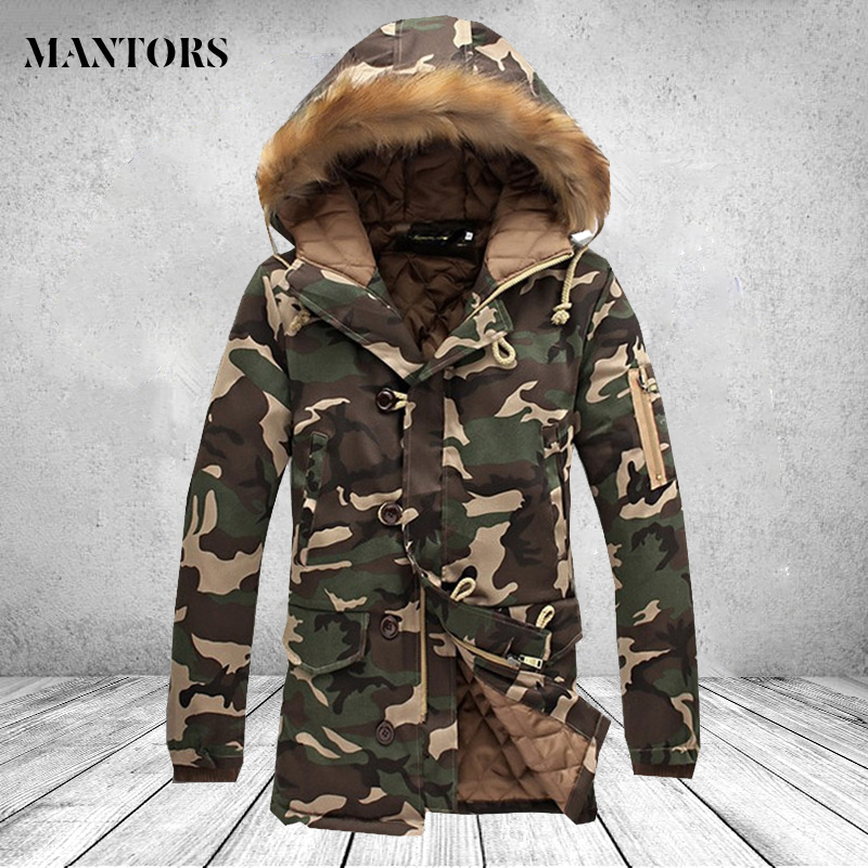 Winter Camouflage Jacket Men Thick Warm Long Jackets   Parkas   hombre Brand Clothing Mens Fur Hooded Coat Outwear Male Plus size