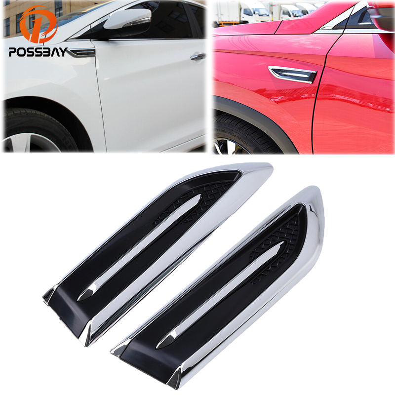 POSSBAY Auto Car Air Intake Flow Vent Fender Decorative Stickers Side Mesh Cover Hood Bonnet ABS Car-Styling Hood Decoration