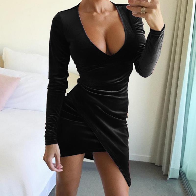 2018 Spring Sexy Velvet Dress Long Sleeve V-Neck Female Elegant Vestido Celebrity Women Party Bodycon Dresses Mujer WS4976X