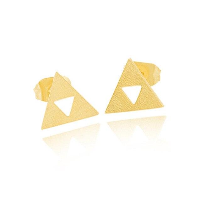 Anime The Legend Of Zelda Triforce Charm Stud Earrings Women Brincos 2017 Jewelry Gifts Stainless Steel Minimal Triangles Bijoux