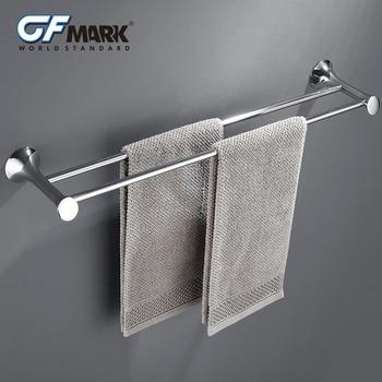 GFmark Double Towel Bars Chrome Plated Hanging Rod Holder Bathroom Wall Mount Hanger Zinc Alloy Towel Rail Rack Toalleros