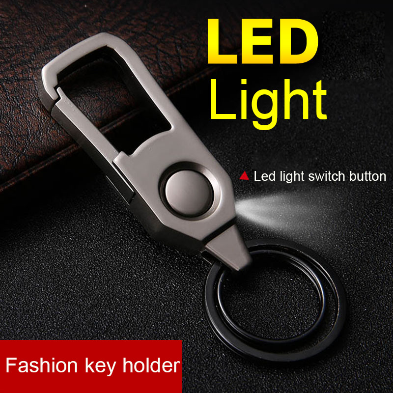 Bycobecy Fashion Men And Women General Metal Key Case Men's Car With Light LED Pendant Key Holder Small Gift Keycase Organizer