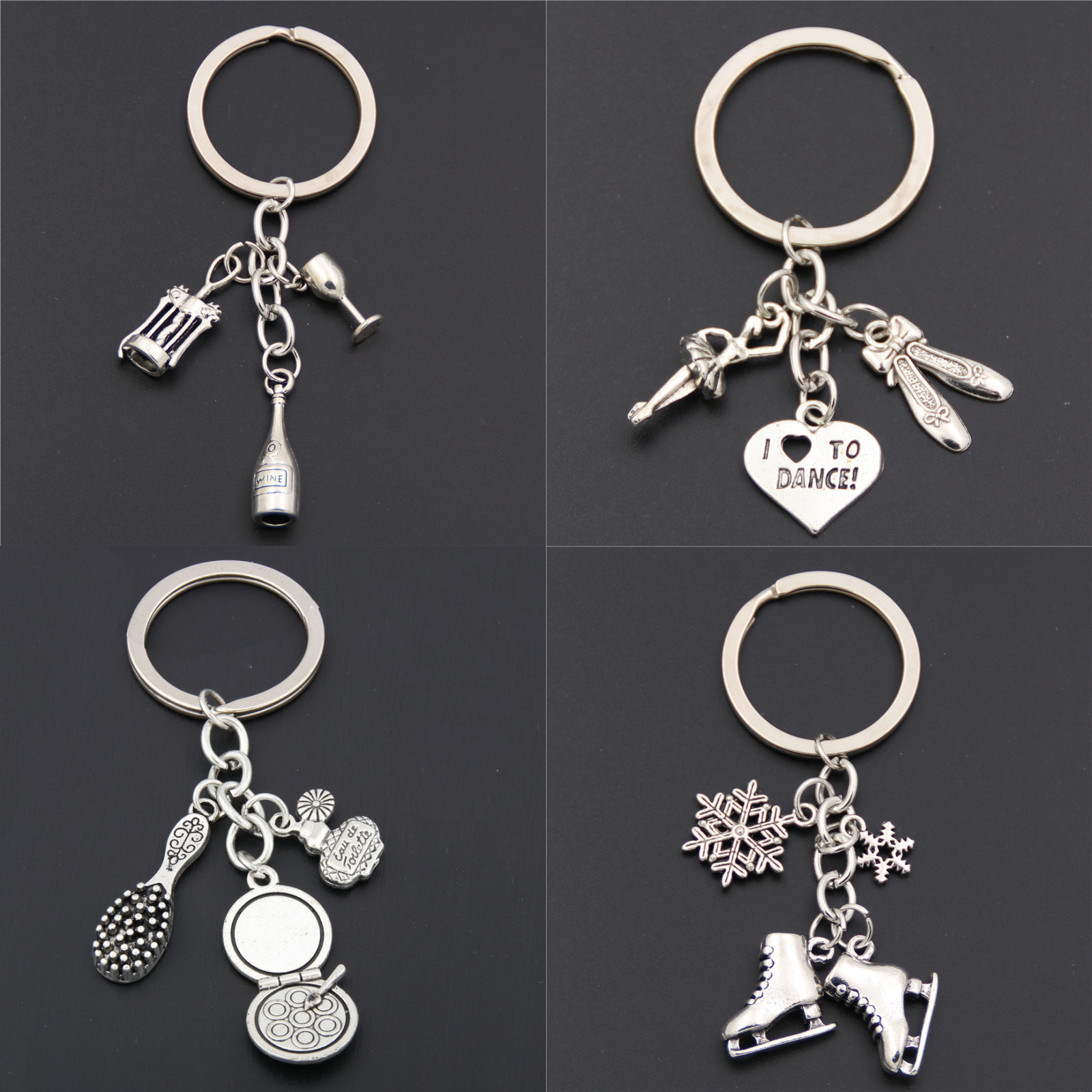 1pc Silver L Love To Dance Keychains Skating Shoes Charms Makeup Pendant Wine Keyring For Women Tennis Jewelry