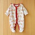 2017 Новый Свежий ребенка комбинезон хлопка 100% девушки одежда с длинным рукавом ползунки Ребенка Комбинезон новорожденный Одежда Упакованные ноги ползунки