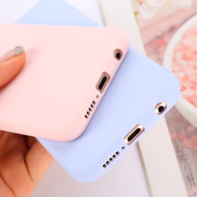 Candy Color <font><b>Case</b></font> for Huawei Y6 Y7 2019 P30 P20 P9 P10 Mate 10 Lite <font><b>Honor</b></font> 10 9 Lite 7C 20 Pro <font><b>8X</b></font> 8C P Smart Soft Silicon <font><b>Cases</b></font> image