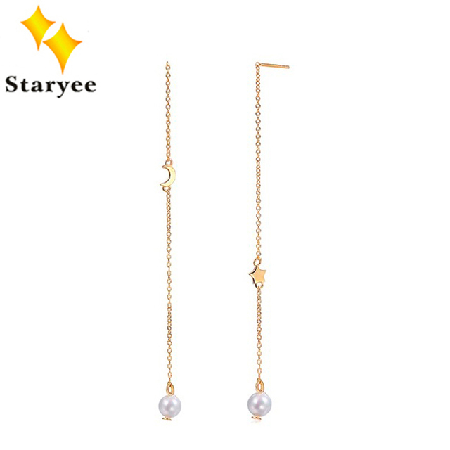 STARYEE Pure 18K Solid Yellow Gold Moon Star Jewelry Elegant Freshwater Pearls Women Drop Dangle Earrings Birthday Party Gift