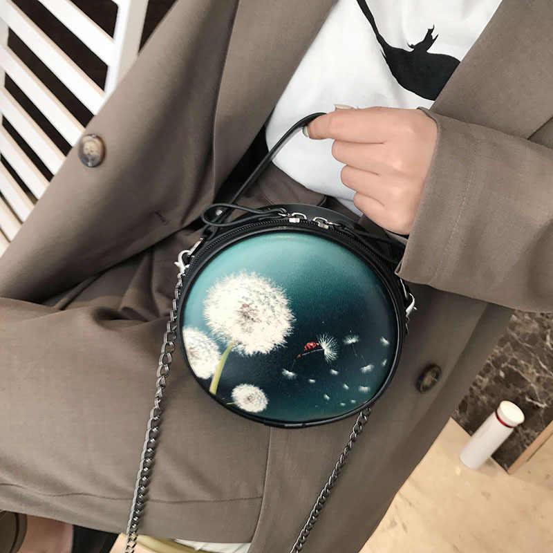 Mini Rodada Colorido Impressão de Bolsas de Design Famoso Saco Do Mensageiro Marcas Famosas Saco Cadeia Ombro Sacos de Cross-corpo Para As Mulheres