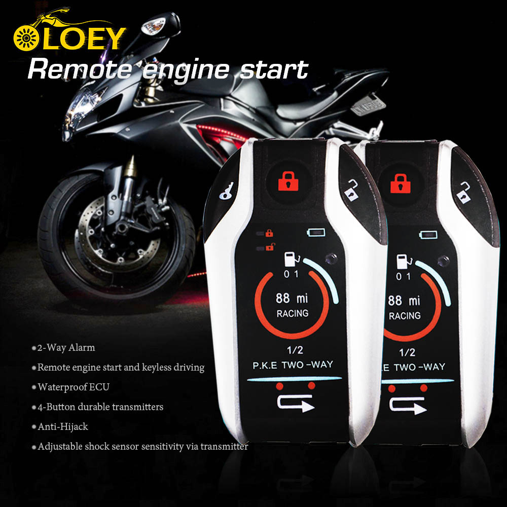 918c79a213a PKE 2 alarma de motocicleta de dos vías Sistema de Seguridad ANTIRROBO  alarma de vibración arranque de motor remoto para Honda YAMAHA Suzuki harley