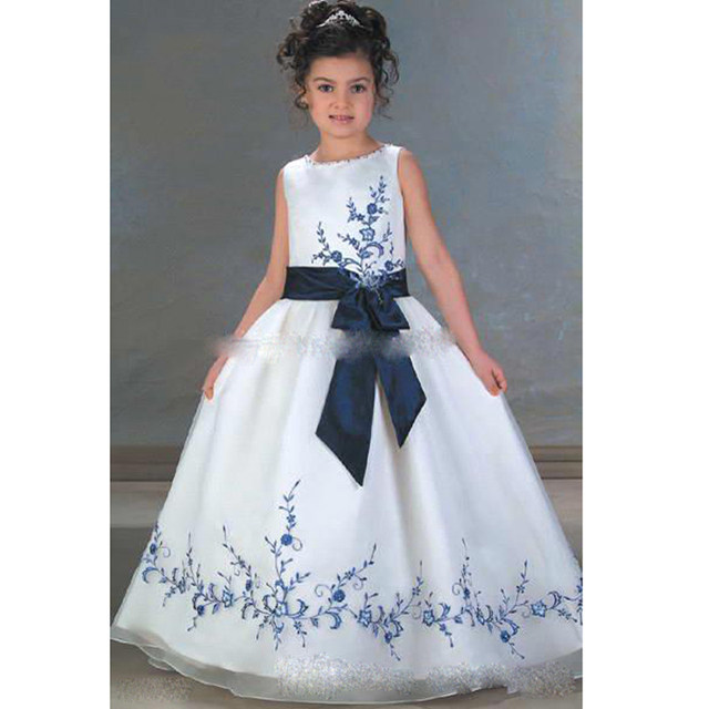 Fashion New Kids Flower Girls\' Dresses with Royal Blue Lace ...
