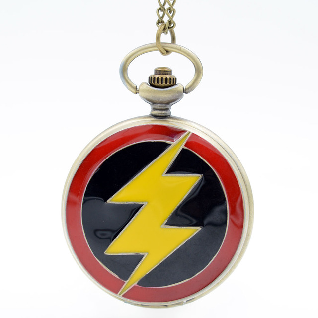 Big Size The Flash colorful dial The Flash Quartz Pocket Watch Mens Womens Neckl