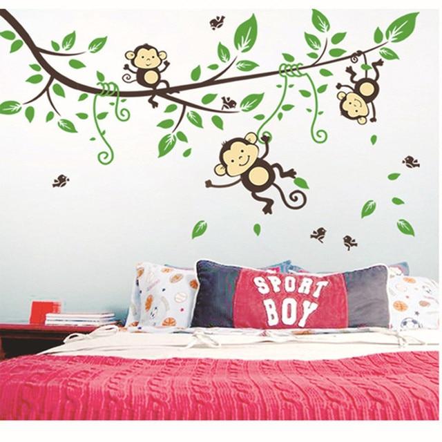 Scimmie svegli albero adesivi murali stickers per bambini for Carta da parati per ragazze