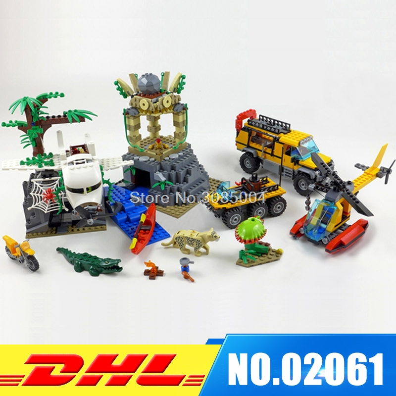 Lepin City 02061 Series 870Pcs The Jungle Exploration Site Set Children Educational Building Toy Kits Compatible with 60161 compatible city lepin 02005 889pcs the volcano exploration base 02005 building blocks policeman educational toys for children
