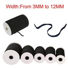 Width 3mm/4mm/5mm/6mm/8mm/10mm/12mm Black Elastic Bands Spool Sewing Band Flat Cord