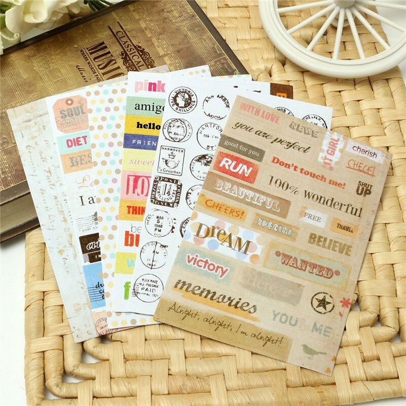 6pcs lot decorative stickers diy letter print calendar paper sticker sticky for scrapbooing diary planner classic toy sticker in stickers from toys